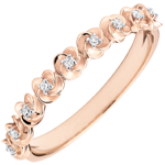 wedding Ring Eclosion - Roses Crown - Small model - pink gold and diamonds - 18 carats