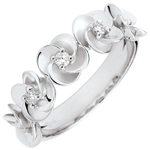 weddings Ring Eclosion - Roses Crown - white gold and diamonds - 18 carats