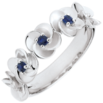 gold jewelry Ring Eclosion - Roses Crown - white gold and sapphires - 9 carats
