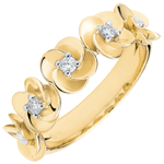 sales on line Ring Eclosion - Roses Crown - yellow gold and diamonds - 18 carats