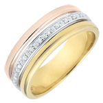 wedding Ring Egeria - three golds and diamonds - 18 carat