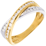 Geschenk Frauen Ring Ellipse mit Diamanten besetzt - 0.38 Karat - 25 Diamanten