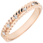 jewelry Ring Enchanted Garden - Diamond Braid - pink gold - 18 carats