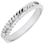 Ring Enchanted Garden - Diamond Braid - white gold - 9 carats