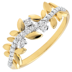 women Ring Enchanted Garden - Foliage Royal - large model - yellow gold and diamonds - 9 carats