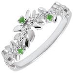 present Ring Enchanted Garden - Foliage Royal - white gold, diamonds and emeralds - 18 carats