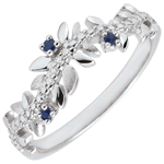 gift women Ring Enchanted Garden - Foliage Royal - white gold, diamonds and sapphires - 9 carats