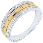 present Ring Enchantment - Crown of Stars - large model - yellow gold, white gold and diamonds - 9 carat
