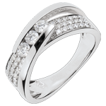 Ring Enchantment - Trilogy Funambule white gold paved - 0.62 carat - 45 diamonds