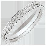 Hochzeit Ring Fleur de Sel - Doppelring - Diamant - Weißgold 9 Karat