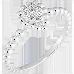 Ring Fleur de Sel - Perlenträne - 375er Weißgold und Diamanten