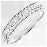 Hochzeit Ring Fleur de Sel - Zweifacher Ring - Weißgold - 18 Karat