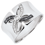 on line sell Ring Freshness - Lilies of summer - white gold and black diamonds - 9 carat