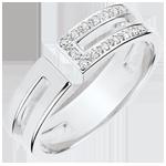 cadeau dames Ring Gloria - 15 diamanten - wit goud 9 karaat
