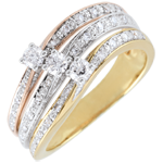 gift woman Ring Great Saturn Trilogy - three golds - 0.372 carat - 18 carat