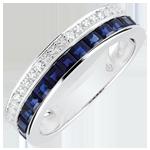 Geschenk Frau Ring - Himmelskörper - Sternzeichen - kleines Modell - blaue Saphire und Diamanten - Weißgold 9 Karat