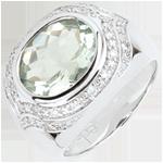 Geschenke Frau Ring Horus mit grünem Amethyst - Silber, Diamanten und Halbedelsteine