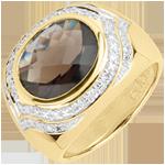 Verkauf Ring Horus Rauchquarz - Silber, Diamanten und Halbedelsteine