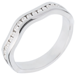 Frau Ring Illusion zur Hälfte mit Diamanten besetzt in Weissgold - Kanalfassung - 16 Diamanten