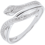 gift woman Ring Imaginary Walk - Bewitching Snake - white gold and diamonds