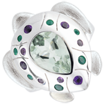 Ring Imaginary Walk - Oceanic Turtle - Silver and fine stones