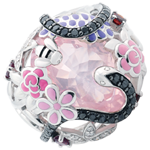 gifts woman Ring Imaginary Walk - Pink Paradise - Silver, diamonds and fine stones