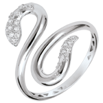 gold jewelry Ring Imaginary walk - Snakelike Love - white gold diamonds - 9 carats
