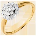 Ring Kaleidoscope diamanten pavézetting - 0.61 karaat - 19 Diamanten - 18 karaat witgoud en geelgoud