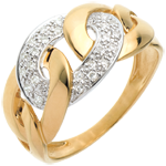 Ring Kettenglieder in Gelbgold - 24 Diamanten