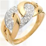 Schmuck Ring Kettenglieder in Gelbgold - 24 Diamanten