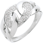 Juweliere Ring Kettenglieder in Weissgold - 24 Diamanten