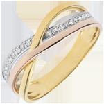 Ring Kleine Saturnus - 3 goudkleuren en diamanten - 18 karaat
