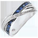 Ring Kleine Saturnus variatie 1 - 9 karaat witgoud, Saffieren en Diamanten