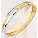 Ring Kostbarer Kokon - Anbetung - Weiß- und Gelbgold - 18 Karat