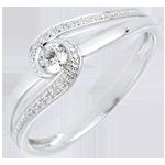 Geschenk Frau Ring Kostbarer Kokon - Teuerste - Weißgold - Diamant 0.12 Karat - 9 Karat