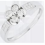 Ring Lentekriebels - Solitaire - Klaver der Minnaars variatie - 4 Diamanten - 18 karaat witgoud