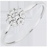 Ring Lentekriebels - Solitaire - Sneeuwvlok - 7 Diamanten - 18 karaat witgoud