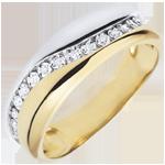 Ring Liefde - Multi-diamanten - wit goud en geel goud - 9 karaat