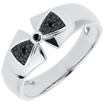 sales on line Ring Little Knot Amelia - White gold and black diamonds