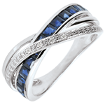 women Ring Little Saturn variation 1 - white gold, sapphires and diamonds - 18 carat