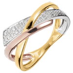 gifts woman Ring Little Saturn variation 2 -3 golds - 18 carat