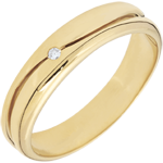 present Ring Love - golden yellow wedding ring for men - 0.022 carat diamond - 9 carats