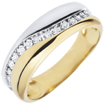 present Ring Love - Multi-diamond - white and yellow gold - 9 carats