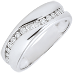 gifts woman Ring Love - Multi-diamond - white gold - 9 carats