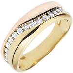 gold jewelry Ring Love - Multi-diamonds - rose gold and yellow gold - 9 carats