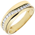 women Ring Love - Multi-diamonds - yellow gold - 9 carats