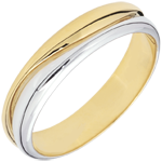 weddings Ring Love - white gold and yellow gold wedding ring for men - 0.022 carat diamond - 9 carats
