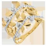 Ring Magische Tuin - Gebladerte Royal - dubbele - diamanten en geel goud - 18 karaat