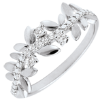 Ring Magische Tuin - Gebladerte Royal - groot model - diamanten en wit goud - 9 karaat
