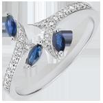 cadeau Ring Mysterieus Bos - wit goud, diamanten en zaadjes in saffier - 9 karaat